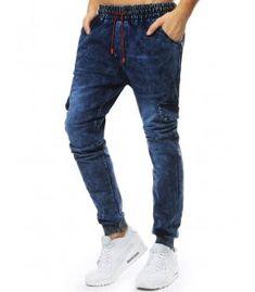 Tmavomodré pánske jogger nohavice s džínsovým vzhľadom Pants, Fashion, Moda, Trousers, Women Pants, Women's Pants, Fasion