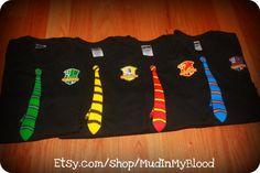 ... School Student Neck Tie T-shirt Uniform With Crest You Choose House