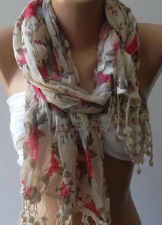 Soft Flowers    Elegance Shawl / Scarf by womann on Etsy, $19.90