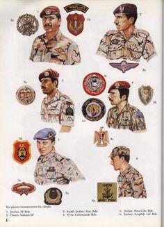 World Special Forces Insignia:  1: Jordan: SF Bde.;  2: Oman: Sultan's SF;  3: Saudi ARabia: Abn. Bde.;  4: Syria: Commando Bde.;  5: Turkey: Para-Cdo. Bde.;  6: Turkey: Amphib. Inf. Bde. Military Post, Military Photos, Military History, Navy Uniforms, Military Uniforms, Army Beret, Military Drawings, Army & Navy, Modern Warfare