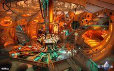 Inside the Tardis - Light fixtures - Color scheme - wall decor - orange paint ? backlit circles