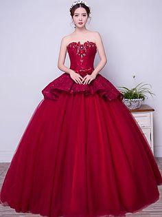 Kolacja oficjalna Sukienka Balowa Bez ramiączek Sięgająca podłoża Koronka…