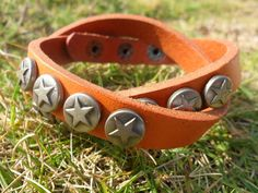 Punk Rock Style metal star rivet real leather cuff bracelet by accessory365, $9.50