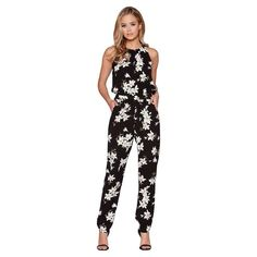 5661ac4e932 Quiz Black And Yellow Floral Print High Neck Jumpsuit Size UK 22 DH085 AA  04