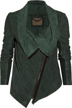 emerald leather moto jacket