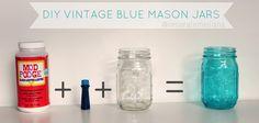 Down Oxford Street: DIY Blue Tinted Mason Jars