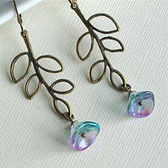 Peacock Flower Earrings - Czech Glass, Bronze Leaves, $19.00 from mcstoneworks on Etsy
