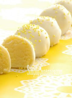 Simply Suzanne's AT HOME: lemon cake batter truffles - Have you heard of Cake Batter Truffles? They're made using cake mix (from a box) and a few other ingredients. They're incredibly moist and tender... a lot like a traditional chocolate truffle in texture. Here's the best part... there's no baking involved, just mixing and refrigerating.