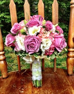 Lavender roses, pink hydrangea and ivory lisianthus