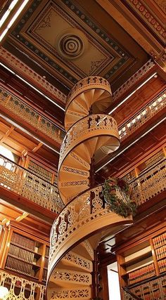Spiral staircase at the State Capitol Law Library in Des Moines, Iowa (photo by Greg Bal Images)