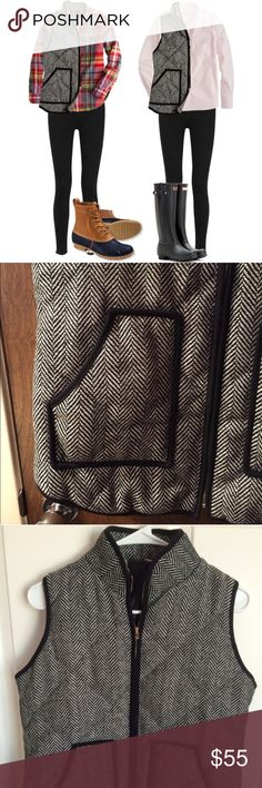 """Herringbone Puffy Vest M NWOT This is by Tara Lynn's Boutique and it looks like J. Crew's herringbone vest!! Almost exactly the same. Bust:20"""" Length:27"""" Tara Lynn's Boutique Jackets & Coats Vests"""