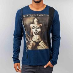 Religion Homme T Shirt Manches Longues WE Live IN Black Bleu | eBay