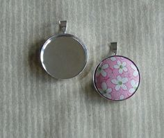 3pcs  Silver Plated Button Pendant Bezels for Size 36 by bjandlee, $4.50