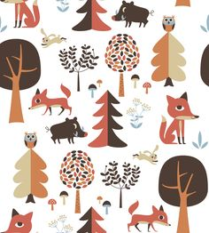 Forest - Red - Wall Mural & Photo Wallpaper designed by Ingela P Arrhenius from Photowall