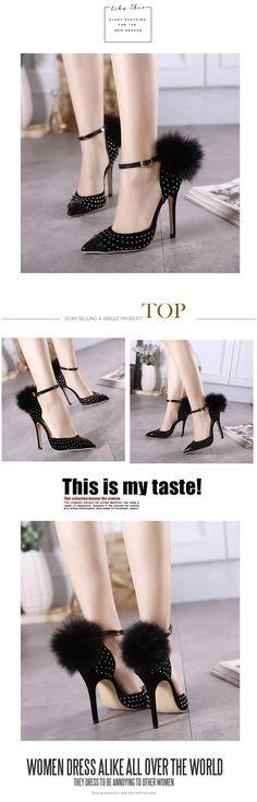 Designer New women's pump sexy high heels pointed toe rivet Sable Splice Glisten stiletto sandals ladies celebrity shoes 35-40 | #STILETTOHEELS