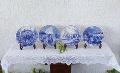 Delft Plate Set FOUR SEASONS Delfts Blauw Schotel Dish Kaststel Iconic Dutch Scenes Garniture Wall Plaque Iconic Porcelain Japan (Guam)