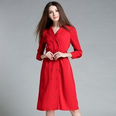Womens dress Suit collar high-end OL Long-sleeved double-breasted Dress Bodycon slim Red Dresses with Sashes 1299