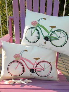 Beach cruiser lumbar pillow 15x20 indoor outdoor by crabbychris, $38.00