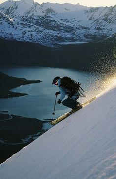 Skiing above Sorfjorden in Lyngen Alps, Norway (by Kelly Holland).