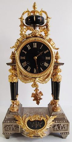ANTIQUE CLOCK 19THC FRENCH 2 TONE GOLD SILVER GILT PORTICO 8 DAY MANTLE CLOCK