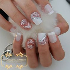 50 Top Best Wedding Nail Art Designs To Get Inspired Bride Nails, Prom Nails, My Nails, Creative Nail Designs, Acrylic Nail Designs, Nail Art Designs, Perfect Nails, Gorgeous Nails, Pretty Nails