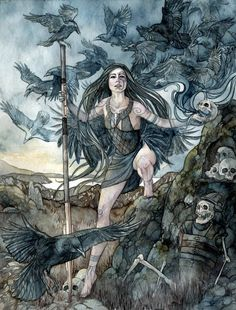 The Morrigan is a complicated goddess. When considered as a single entity, she is the phantom queen, a mysterious figure with foreknowledge of doom and death in battle. She was said to fly high above skirmishes in the form of a crow, circling endlessly as men fought and died below. There are