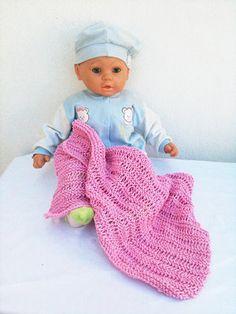 "Chunky Handmade Knitting Baby Blanket in Soft pink 25"" x 25"""