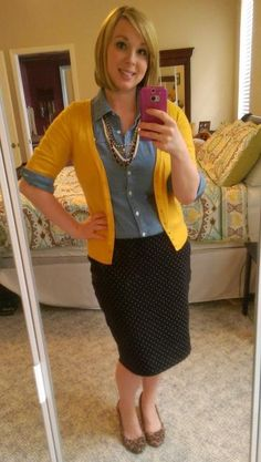 Mustard, Chambray, Polka Dots, & Leopard. Pattern Mixing. Fall Outfits. Modern Modesty.