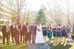 Grey, teal and orange bridal party, orange flowers, succulent bouquet, lace veil, grey suit groom, v-neck wedding gown.  Erica   Tom \ Colorful Villanova Wedding  #laurenfairphotography