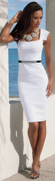 White dress and skinny belt.  #fashion #summer