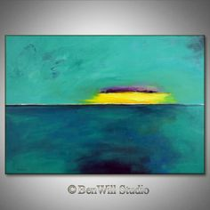TURQUOISE Modern Abstract Painting Contemporary Art ORIGINAL Large Oil Painting HORIZON on Canvas 40x28 by BenWill. $360.00, via Etsy.