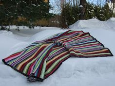 Oneofakind Crocheted Cotton Granny Goes Striped door Stjarnkraft, Granny Stripes, Granny Squares, Crochet Granny, Crochet Clothes, Etsy Handmade, Finland, Plaid Scarf, Textiles, Pattern