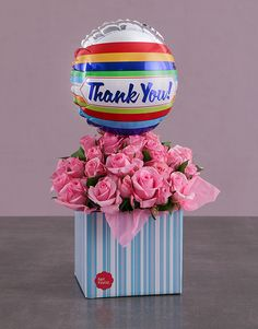 Thank You Balloon and Pink Rose Box Pink Happy Birthday, Happy Birthday Candles, Happy Birthday Balloons, 50th Birthday Party, Flower Box Gift, Flower Boxes, Flowers, 18 Candles, 21 Balloons