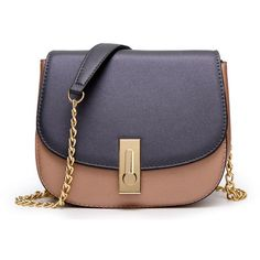 Pu Leather Chain Piggy Messenger Bag (1.165 UYU) ❤ liked on Polyvore featuring bags, messenger bags, chain bag, block bag, colorblock bags and color block bag