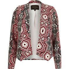 River Island Womens Red printed draped blazer