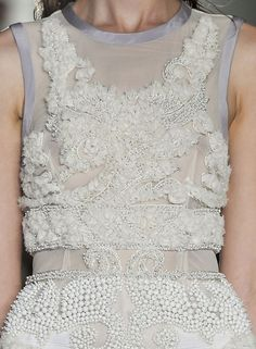 White on White Fashion with beaded patterns & fabric textures - couture embellishments; fashion details