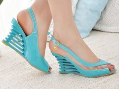 Cheap Women's Sandals, Buy Directly from China Suppliers: Plus 2015 Women Wedges Sandals Peep toe High Heels Pumps Designer Shoes Summer Ankle Strap Wedges, Wedge Sandals, Summer Sandals, Summer Shoes, Summer Outfit, Cheap Sandals, Womens High Heels, Leather Fashion, Comfortable Shoes