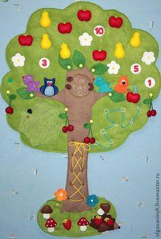 Развивающее дерево `СКАЗОЧНОЕ` II. Это деревце сделано с небольшими изменениями. Полное описание деревца можно увидеть здесь www.livemaster.ru/item/1192535-kukly-igrushki-razvivayuschee-derevo-skazochnoe  Яблочки и груши объемные, наполнены синепухом. Паутинка снимается (крепление…