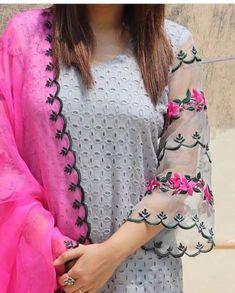 Simple Kurti Designs, Kurta Designs Women, Fancy Dress Design, Stylish Dress Designs, Kurti Embroidery Design, Embroidery Fashion, Sleeves Designs For Dresses, Dress Neck Designs, Pakistani Dress Design