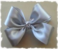Classic Sparkle. Silver Satin Hair Bow from All Things Ribbon