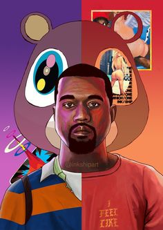 Kanye west a great song writer an artist background is his college drop out iconic bear in the cover of the album Arte Do Hip Hop, Hip Hop Art, Cartoon Kunst, Cartoon Art, Kanye West Wallpaper, Wallpaper Cars, Dope Kunst, Beautiful Dark Twisted Fantasy, Trill Art