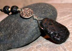 Lava Stone Pendant  Natural Lava Stone Fine Silver by LindaGeez