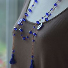 Lariat Silk Tassel Necklace Featuring Cobalt Pressed Czech Glass Cobalt Crystals and Copper Chain