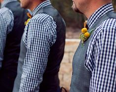 blue gingham grey vests groomsmen   these groomsmen ended up in tailored gingham shirts khakis vests