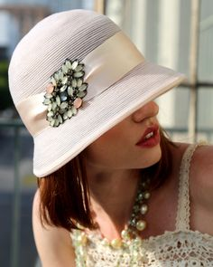 Fine horsehair braid hat with jeweled applique trim
