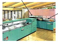The house design is one of those California style, open concept homes of the 1950's-the early1970's. The cabinets are enameled metal with those funky colors, which put them squarely in the 1950's to early 1960's timewise. I like that there is only 1 set of overhead cabinets and 1 strip of the kitchen is open above the floor units.