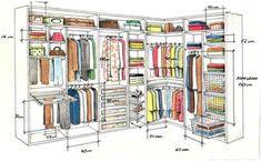 Cómo distribuir roperos y vestidores.    Incluye medidas por tipo de prenda y zona.