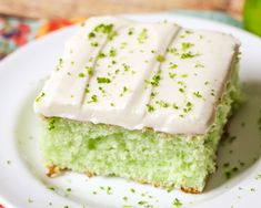 Perfectly moist lime cake, topped with a homemade lime buttercream frosting, and sprinkled with lime zest! Just the right balance of citrus and sweet in this yummy sheet cake. Not only is this recipe easy and refreshing, but great for feeding a crowd too!