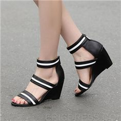 Popular Black Wedge Sandals
