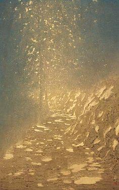 こもれびの坂 第51回 春の院展1996年 by 手塚雄二 Feuille D'or, Japan Painting, Korean Art, Leaf Art, Japan Art, Kitsch, Landscape Paintings, Watercolor Art, Scenery